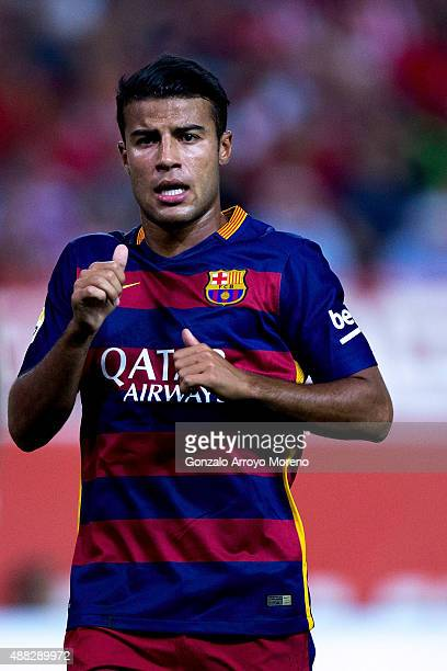 Rafael Alcantara alias Rafinha of FC Barcelona gestures during the La Liga match between Club Atletico de Madrid and FC Barcelona at Vicente Calderon...