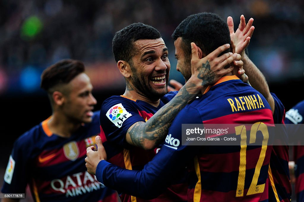 Rafael Alc��ntara of F.C.Barcelona celebrates with <a gi-track='captionPersonalityLinkClicked' href=/galleries/search?phrase=Dani+Alves&family=editorial&specificpeople=2191863 ng-click='$event.stopPropagation()'>Dani Alves</a> after scoring a goal during the F.C.Barcelona v RCD Espanyol BBVA Spanish League match 37th season on May 8, 2016 in Barcelona, Spain.