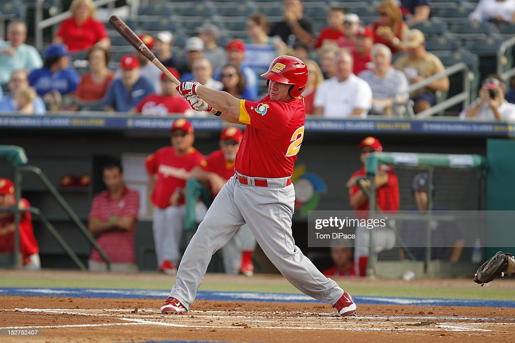 Rafael Alvarez #24 of Team Spain bats against Team Israel during game 6 of the Qualifying Round of the World Baseball Classic at Roger Dean Stadium on September 23, 2012 in Jupiter, Florida.