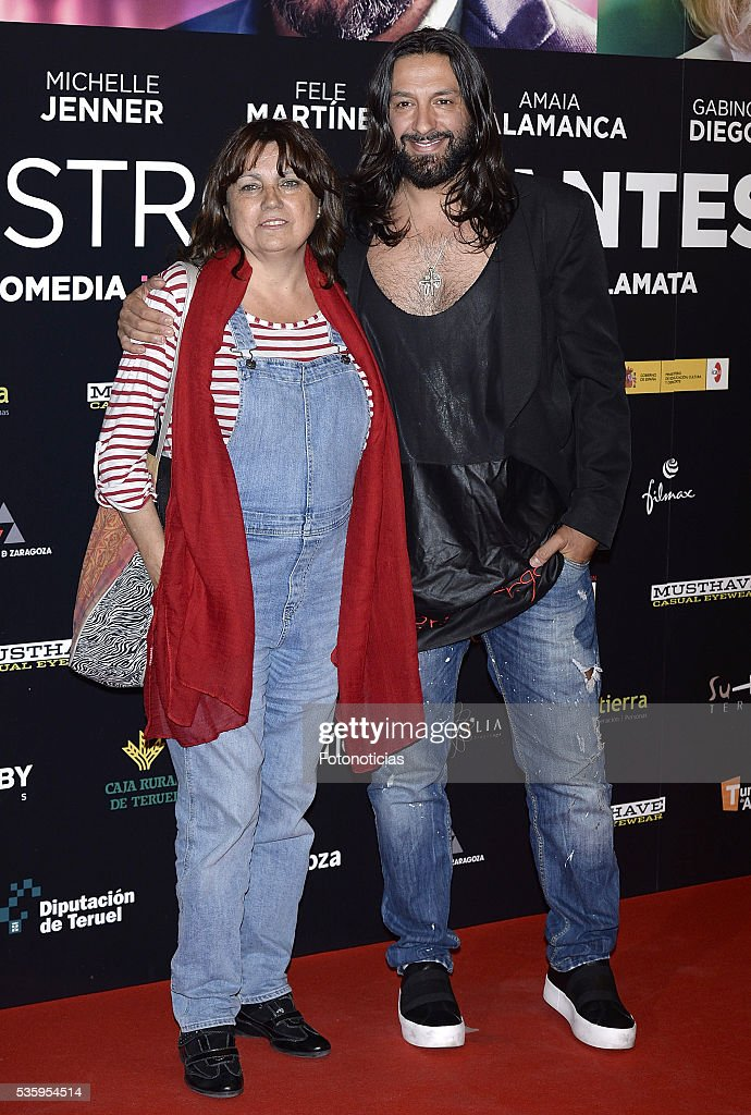 Rafael Amargo (R) and guest attend the 'Nuestros Amantes' premiere at Palafox cinema on May 30, 2016 in Madrid, Spain.