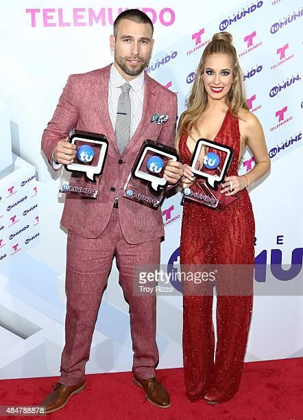 Rafael Amaya and Carmen Aub attend Telemundo's 'Premios Tu Mundo Awards' 2015 at American Airlines Arena on August 20 2015 in Miami Florida