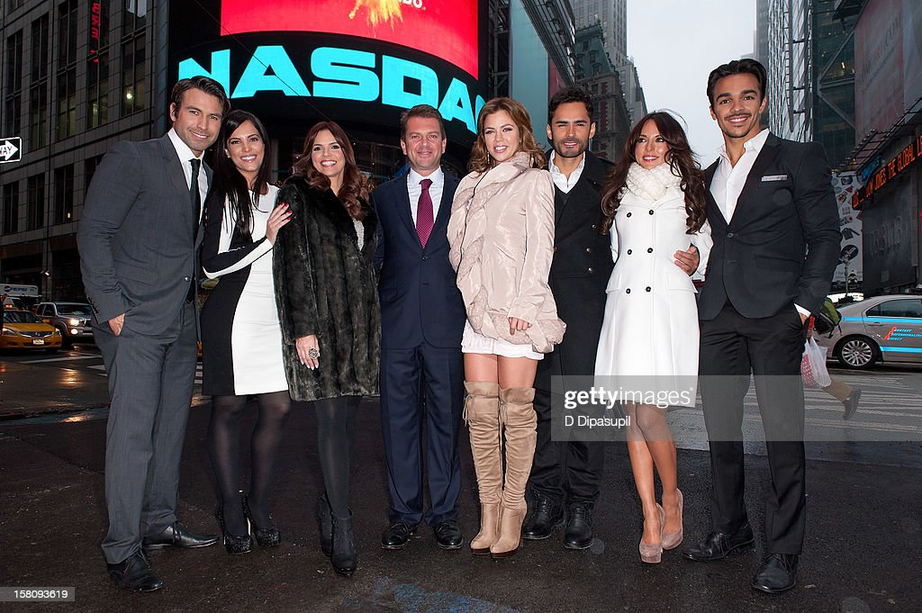 Rafael Amaya, Gaby Espino, Rashel Diaz, Telemundo Media president Emilio Romano, Ximena Duque, Fabian Rios, Vanessa Villela, and Shalim attend the NASDAQ Opening Bell Ceremony celebrating Telemundo Media's new brand campaign at NASDAQ MarketSite on December 10, 2012 in New York City.