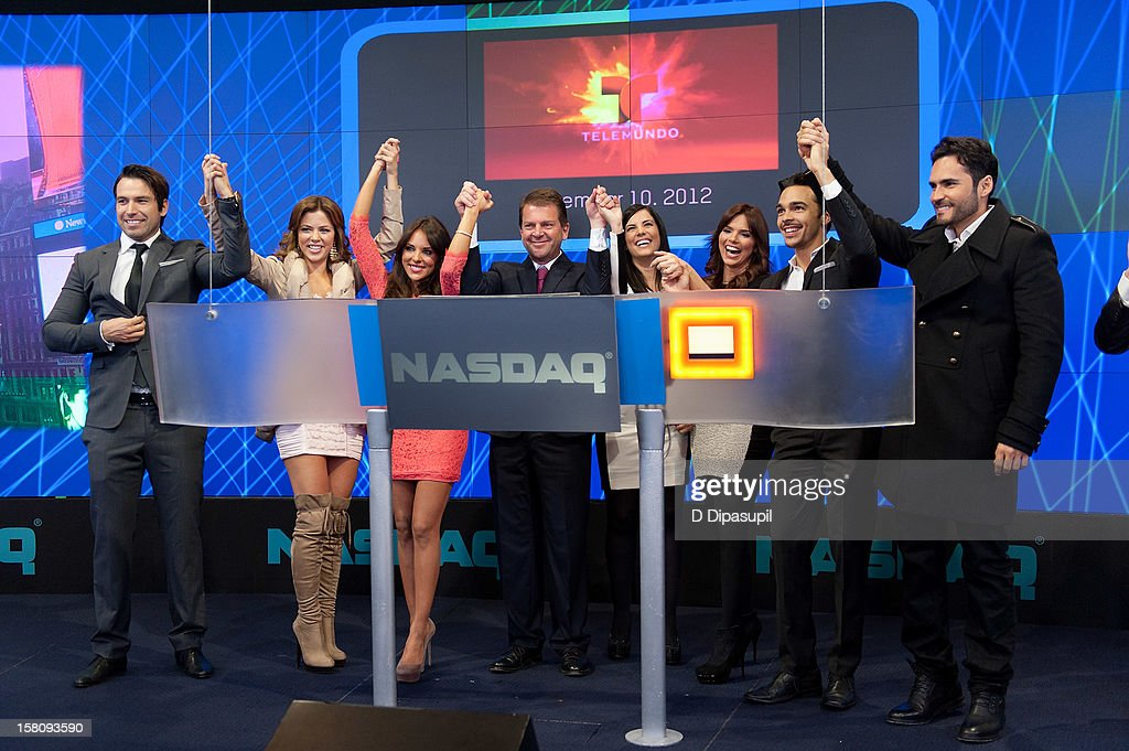 Rafael Amaya, Ximena Duque, Vanessa Villela, Telemundo Media president Emilio Romano, Gaby Espino, Rashel Diaz, Shalim, and Fabian Rios attend the NASDAQ Opening Bell Ceremony celebrating Telemundo Media's new brand campaign at NASDAQ MarketSite on December 10, 2012 in New York City.