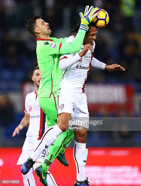 Rafael and Bruno Alves of Cagliari Calcio in action during the Serie A match between AS Roma and Cagliari Calcio at Stadio Olimpico on January 22...