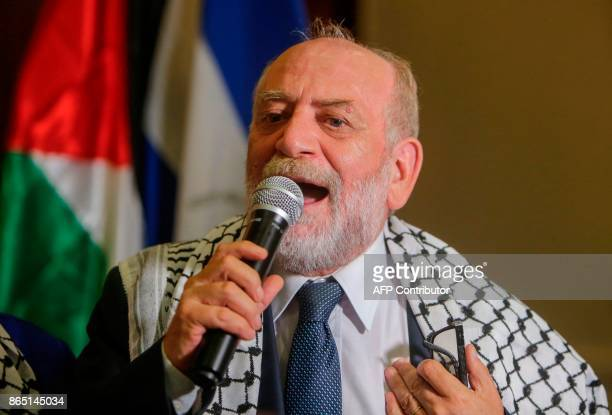 Rafael Antonio Araya Masry New President of the Palestinian Confederation of Latin America and the Caribbean gives a speech after being elected...