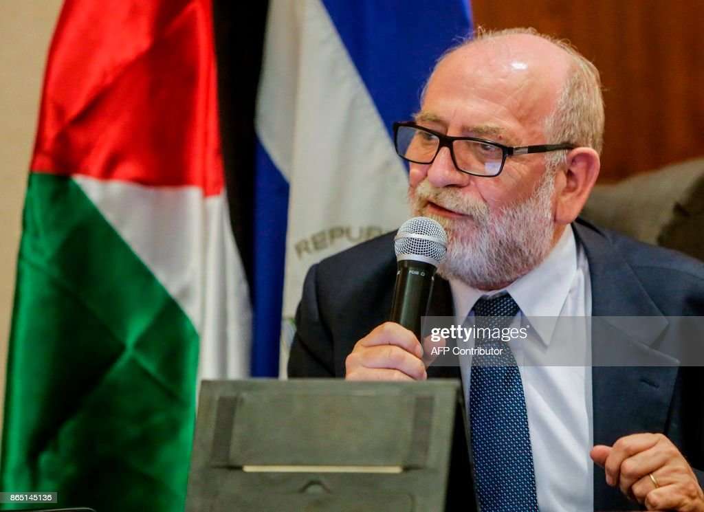 Rafael Antonio Araya Masry, New President of the Palestinian Confederation of Latin America and the Caribbean (COPLAC) gives a speech after being elected during the IV Congress to elect representatives and reaffirm their commitment to the cause of their people in Managua on October 22, 2017.