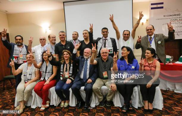 Rafael Antonio Araya Masry new president of the Palestinian Confederation of Latin America and the Caribbean poses with member of the organization...