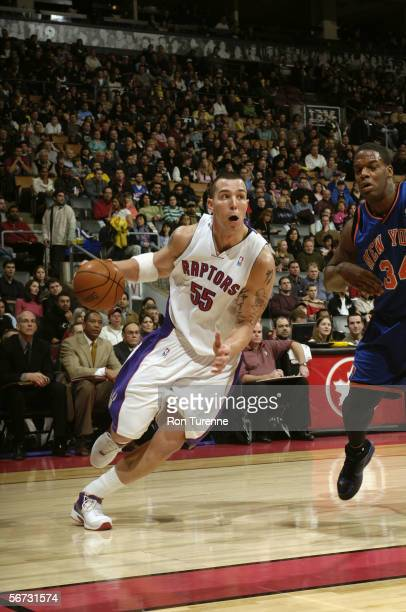 Rafael Araujo of the Toronto Raptors drives against the New York Knicks on January 15 2006 at the Air Canada Centre in Toronto Canada The Raptors won...