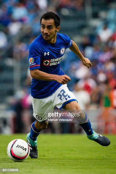 Rafael Baca of Cruz Azul controls the ball during the 4th round match between Cruz Azul and Chivas as part of the Torneo Apertura 2017 Liga MX at...
