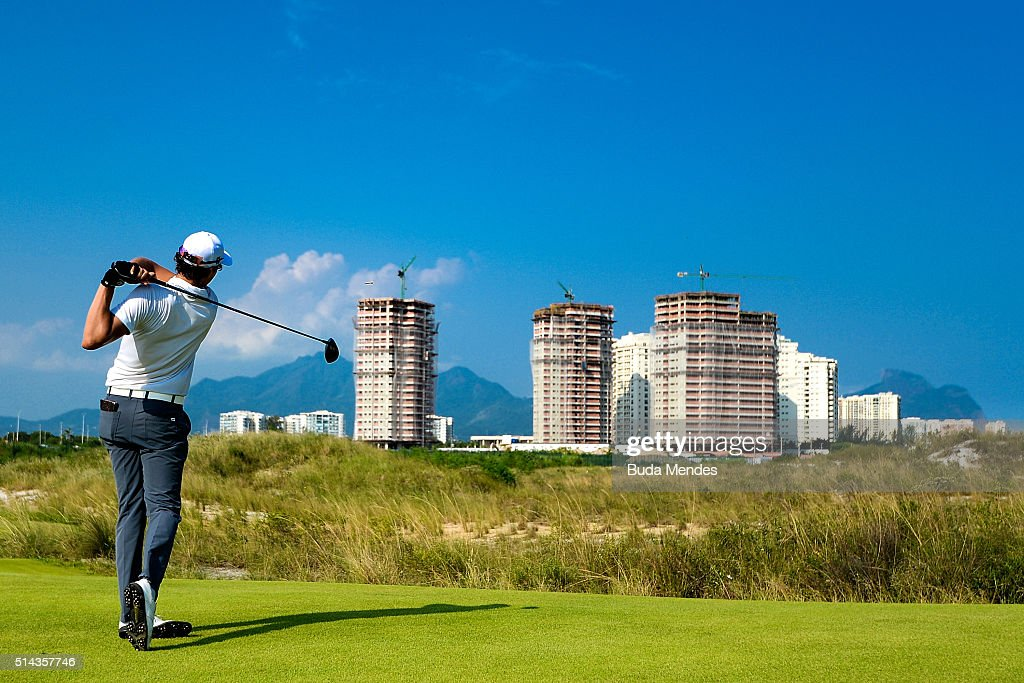 Rafael Becker of Brazil hits the ball during the Golf Tournament - Aquece Rio Test Event for the Rio 2016 Olympics at the Olympic Golf Course on March 8, 2016 in Rio de Janeiro, Brazil.