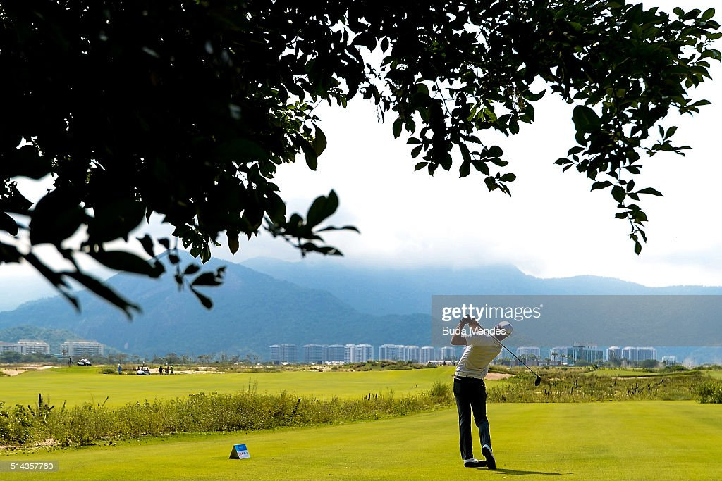 Rafael Becker of Brazil hits the ball during the Golf Tournament Aquece Rio Test Event for the Rio 2016 Olympics at the Olympic Golf Course on March...