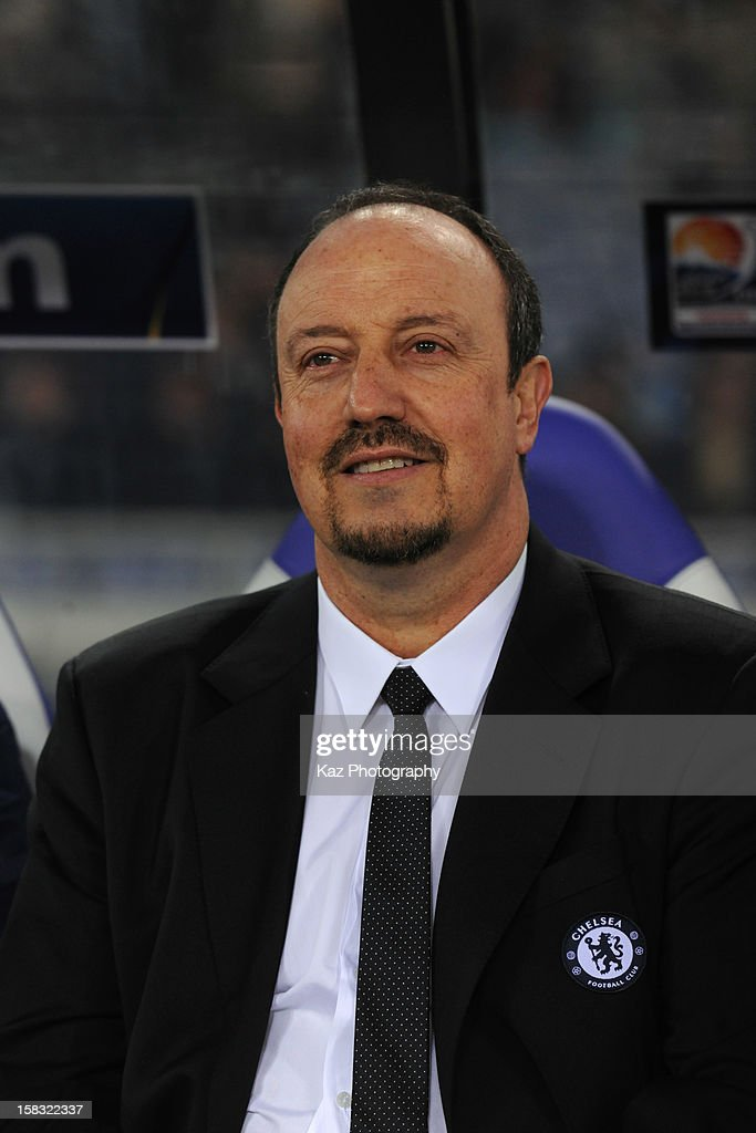 Rafael Benitez, coach of Chelsea smiles during the FIFA Club World Cup Semi Final match between CF Monterrey and Chelsea at International Stadium Yokohama on December 13, 2012 in Yokohama, Japan.