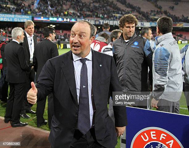 Rafael Benitez Coach of SSC Napoli celebrate the victory after the UEFA Europa League quarterfinal second leg match between SSC Napoli and VfL...