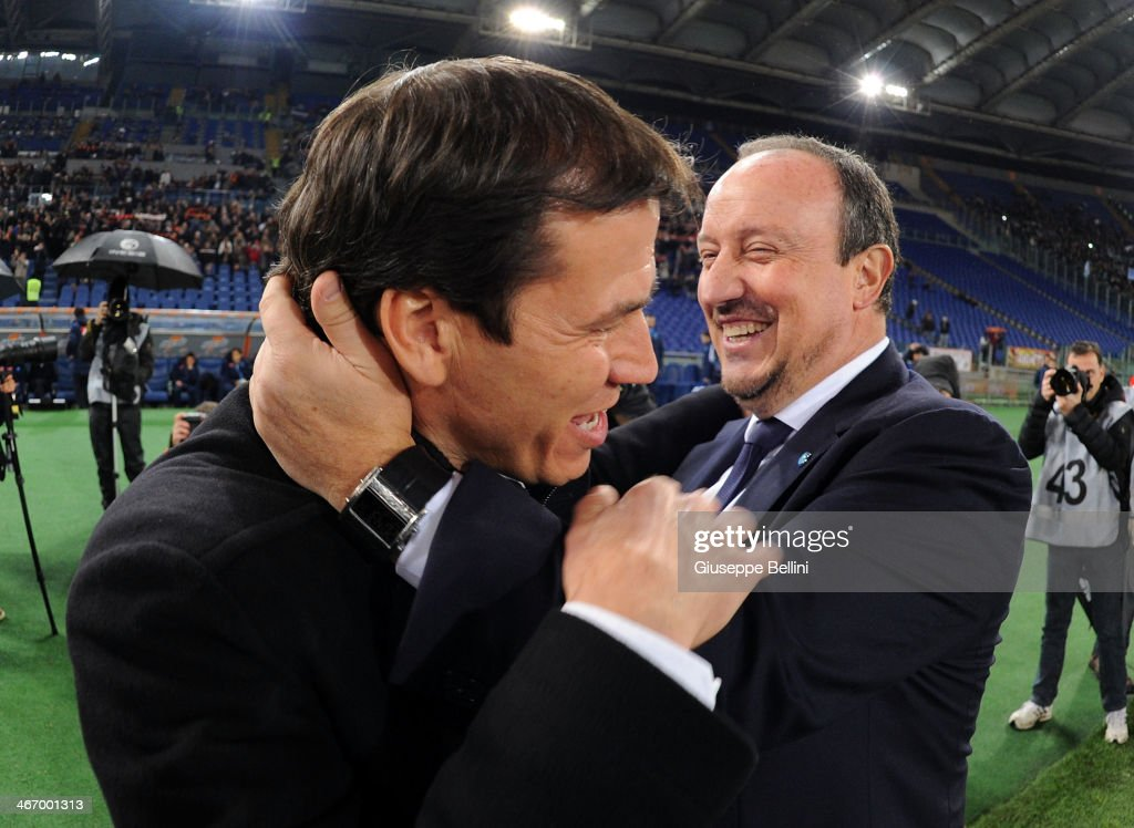 Rafael Benitez, head coach of Napoli and <a gi-track='captionPersonalityLinkClicked' href=/galleries/search?phrase=Rudi+Garcia&family=editorial&specificpeople=4444731 ng-click='$event.stopPropagation()'>Rudi Garcia</a>, head coach of Roma before the TIM Cup match between AS Roma and SSC Napoli at Olimpico Stadium on February 5, 2014 in Rome, Italy.