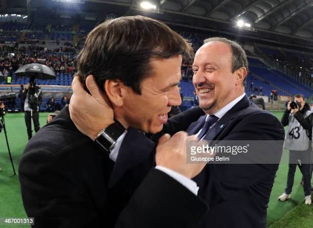 Rafael Benitez head coach of Napoli and Rudi Garcia head coach of Roma before the TIM Cup match between AS Roma and SSC Napoli at Olimpico Stadium on...