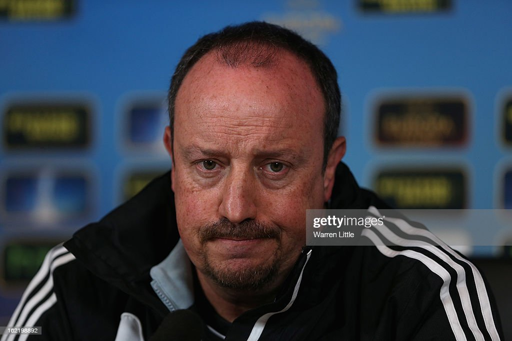 Rafael Benitez, Interim First-Team Manager of Chelsea addresses the media at Cobham training ground on February 20, 2013 in Cobham, England.