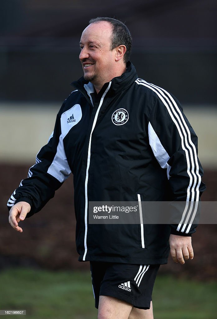 Rafael Benitez, Interim First-Team Manager of Chelsea, arrives at a training session at Cobham training ground on February 20, 2013 in Cobham, England.