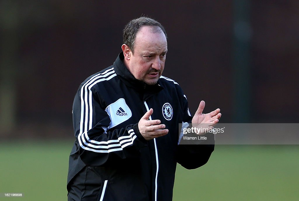 Rafael Benitez, Interim First-Team Manager of Chelsea instructs his players at a training session at Cobham training ground on February 20, 2013 in Cobham, England.
