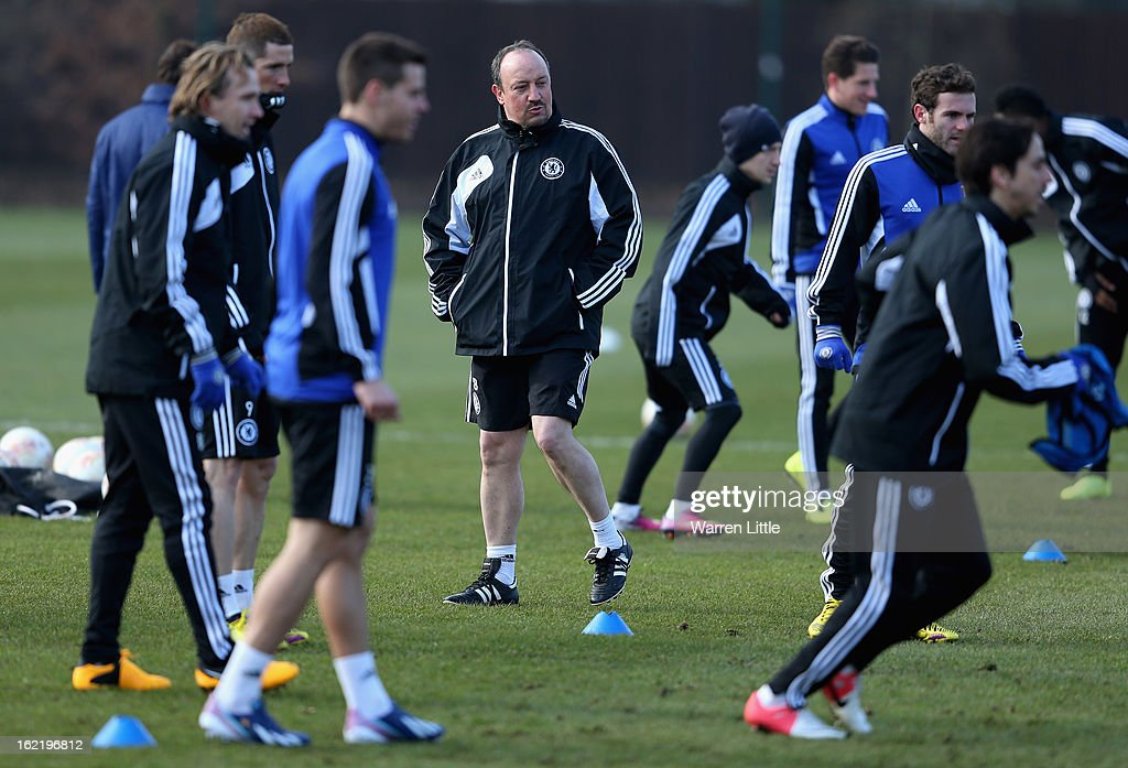 Rafael Benitez, Interim First-Team Manager of Chelsea watches over his team during a training session at Cobham training ground on February 20, 2013 in Cobham, England.