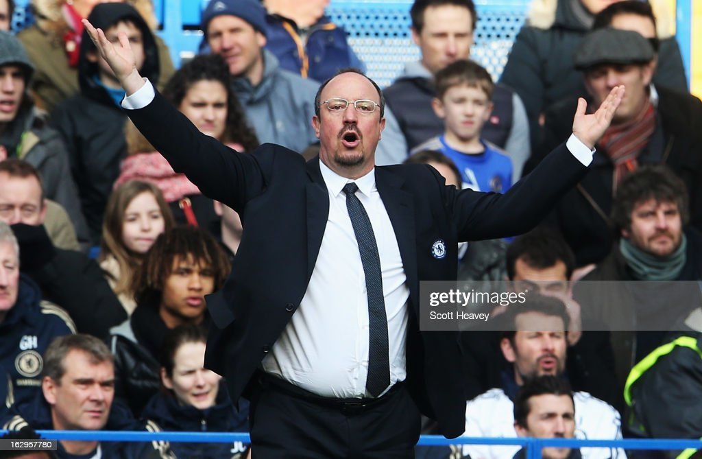 Rafael Benitez, interim manager of Chelsea gestures during the Barclays Premier League match between Chelsea and West Bromwich Albion at Stamford Bridge on March 2, 2013 in London, England.