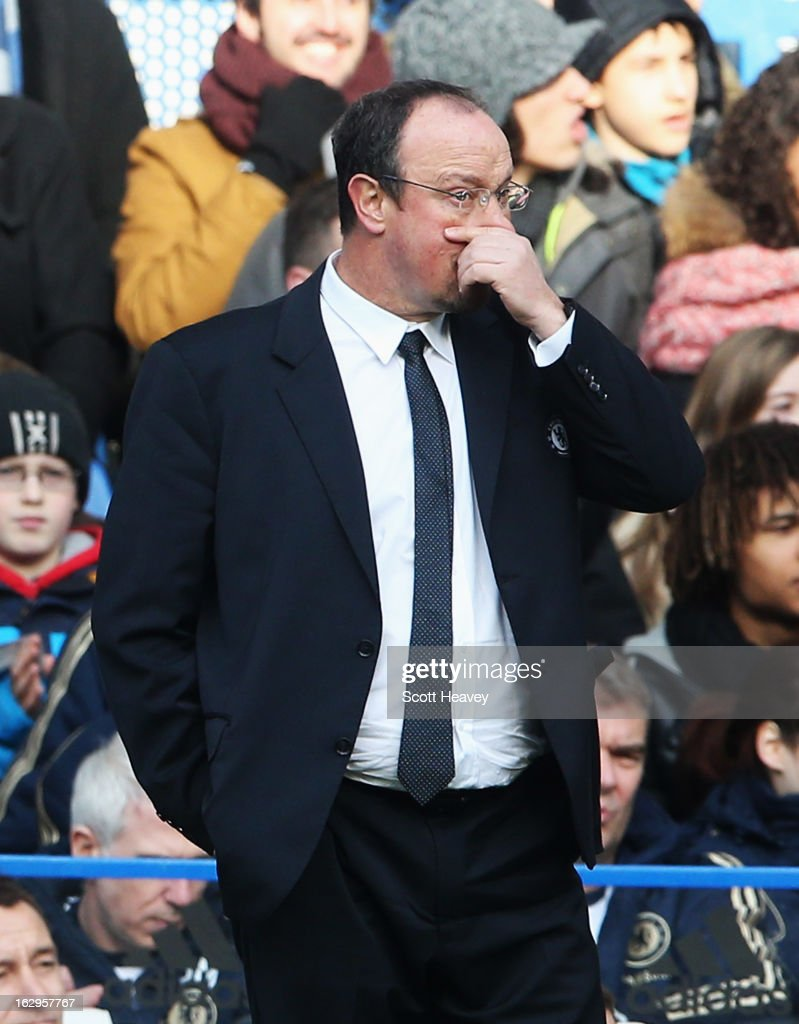 Rafael Benitez, interim manager of Chelsea looks on during the Barclays Premier League match between Chelsea and West Bromwich Albion at Stamford Bridge on March 2, 2013 in London, England.