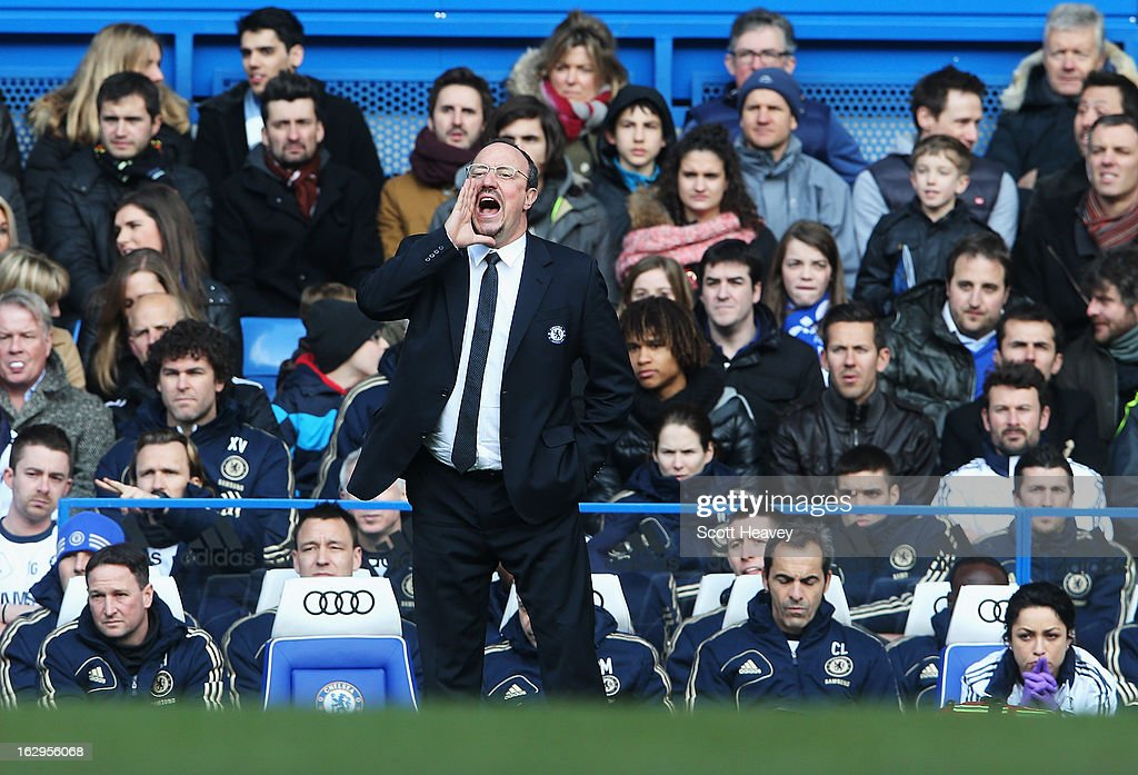 Rafael Benitez, interim manager of Chelsea shouts instructions during the Barclays Premier League match between Chelsea and West Bromwich Albion at Stamford Bridge on March 2, 2013 in London, England.