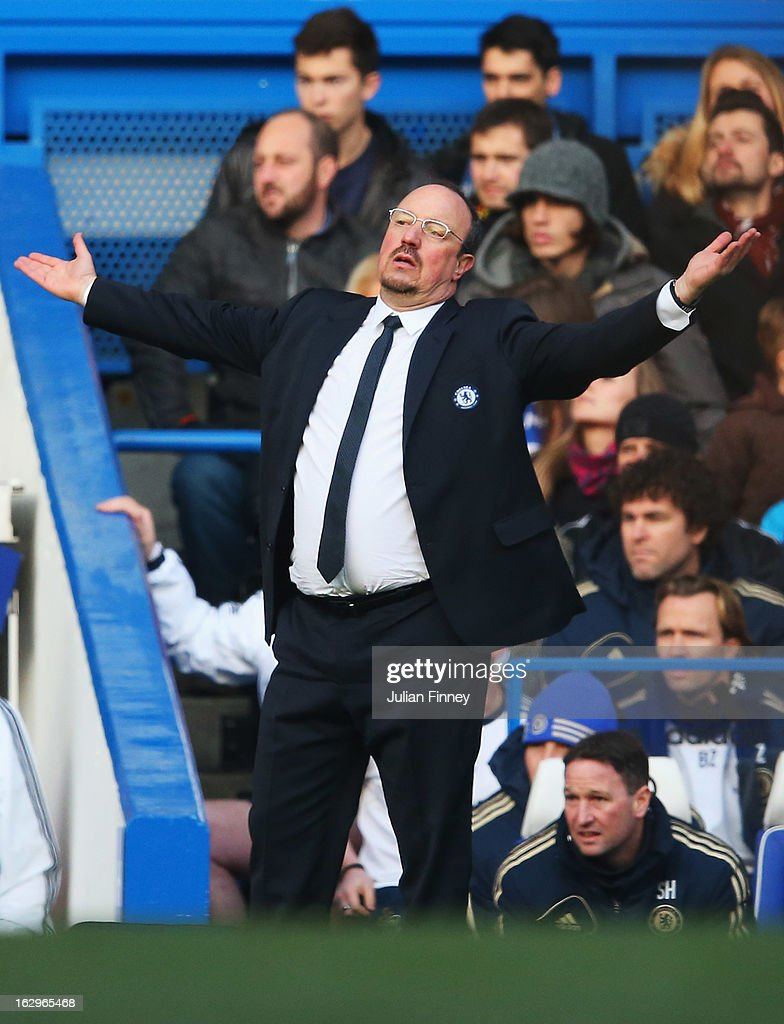 Rafael Benitez, interim manager of Chelsea shows his frustration during the Barclays Premier League match between Chelsea and West Bromwich Albion at Stamford Bridge on March 2, 2013 in London, England.
