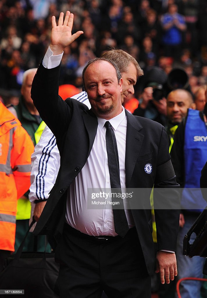 Rafael Benitez, interim manager of Chelsea waves prior to the Barclays Premier League match between Liverpool and Chelsea at Anfield on April 21, 2013 in Liverpool, England.