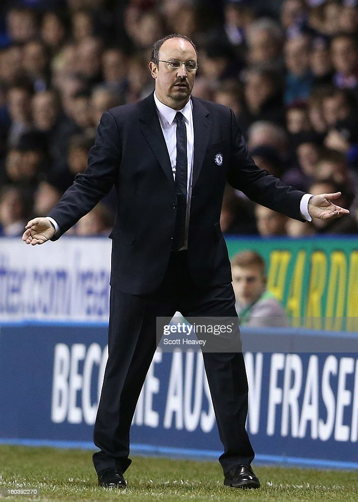 Rafael Benitez, manager of Chelsea gestures during the Barclays Premier League match between Reading and Chelsea at Madejski Stadium on January 30, 2013 in Reading, England.