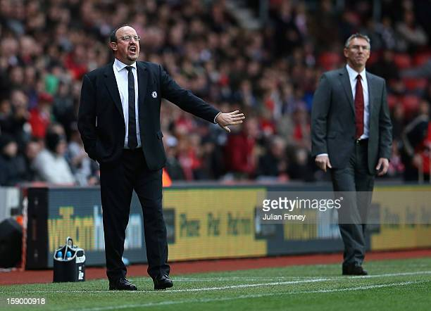 Rafael Benitez manager of Chelsea gives instructions as Nigel Adkins manager of Southampton looks on during the FA Cup Third Round match between...
