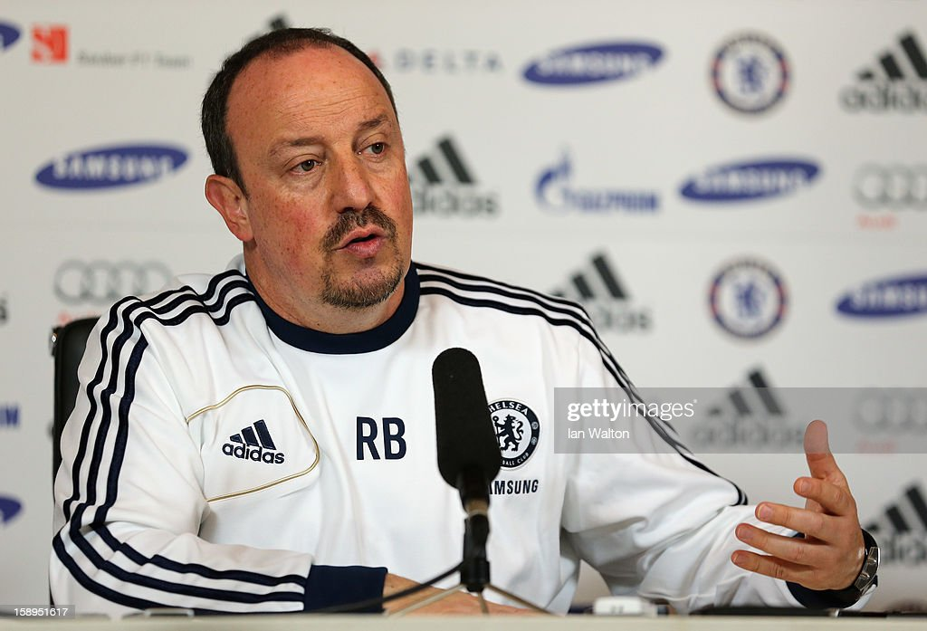 Rafael Benitez, manager of Chelsea, speaks during a press conference at the club's training ground on January 4, 2013 in Cobham, England.