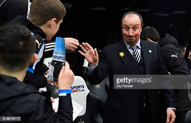 Rafael Benitez manager of Newcastle United acknowledges the fans during the Barclays Premier League match between Newcastle United and Sunderland at...