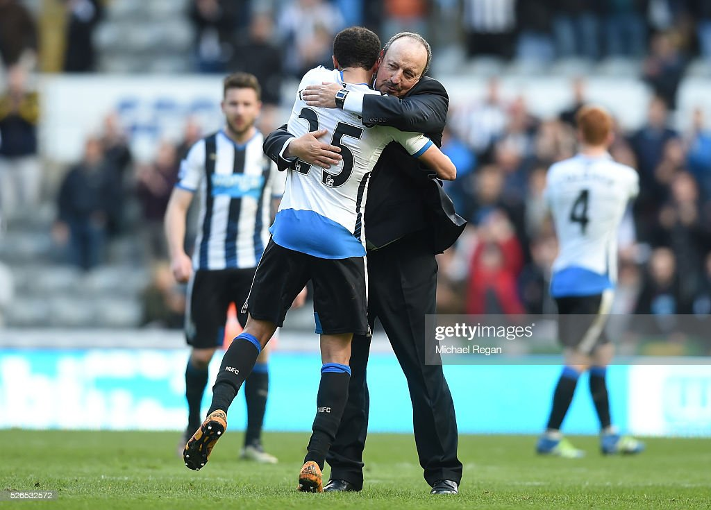 Rafael Benitez (R) manager of Newcastle United congratulates Andros Townsend (L) after their 1-0 win in the Barclays Premier League match between Newcastle United and Crystal Palace at St James' Park on April 30, 2016 in Newcastle upon Tyne, England.