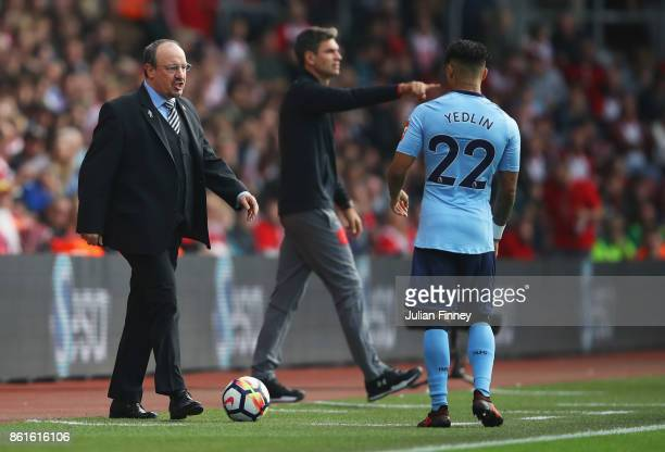 Rafael Benitez Manager of Newcastle United gives instructions to DeAndre Yedlin of Newcastle United during the Premier League match between...