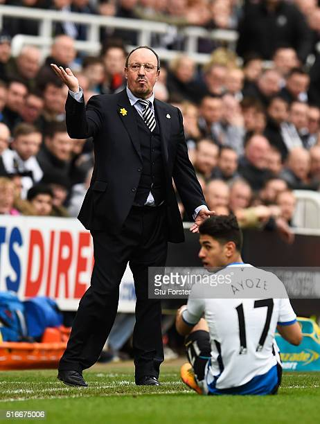 Rafael Benitez manager of Newcastle United reacts as Ayoze Perez of Newcastle United is grounded during the Barclays Premier League match between...