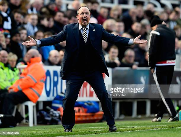 Rafael Benitez manager of Newcastle United reacts during the Barclays Premier League match between Newcastle United and Swansea City at St James'...