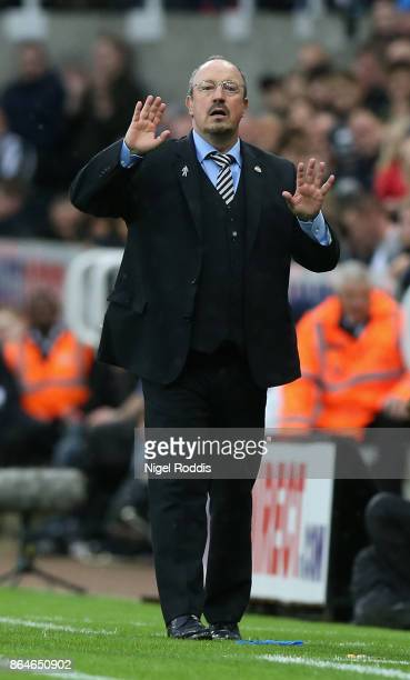 Rafael Benitez Manager of Newcastle United reacts during the Premier League match between Newcastle United and Crystal Palace at St James Park on...