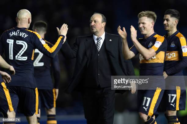 Rafael Benitez manager of Newcastle United shakes hands with his players after the Sky Bet Championship match between Brighton Hove Albion...