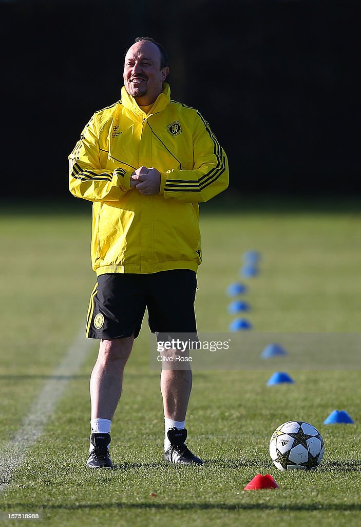 Rafael Benitez of Chelsea looks on during a training session at Cobham training ground on December 4, 2012 in London, England.