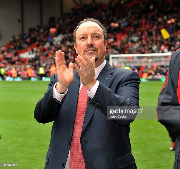 Rafael Benitez of liverpool walks round at the end of the Barclays Premier League match between Liverpool and Chelsea at Anfield on May 2 2010 in...