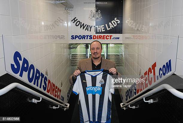 Rafael Benitez poses for photographs in the tunnel after signing as Newcastle United's new manager at StJames' Park on March 11 in Newcastle upon...