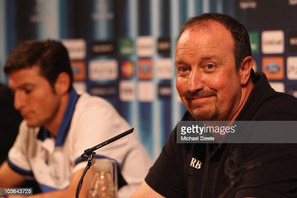 Rafael Benitez the coach of Inter alongside captain Javier Zanetti during the Inter Milan press conference at the Grimaldi Forum on August 26 2010 in...