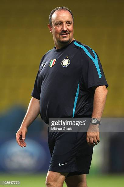 Rafael Benitez the coach of Inter looks on during the Inter Milan training session at Louis II Stadium on August 26 2010 in Monaco Monaco