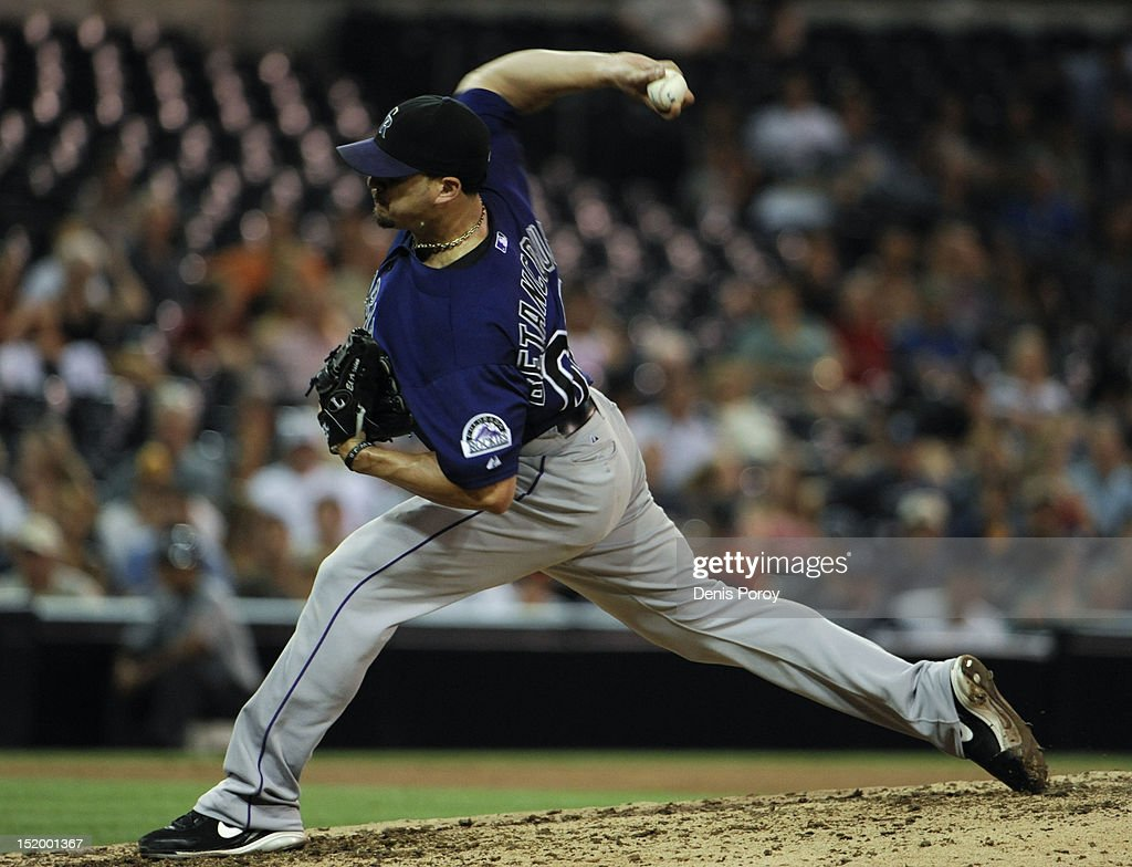 <a gi-track='captionPersonalityLinkClicked' href=/galleries/search?phrase=Rafael+Betancourt&family=editorial&specificpeople=224728 ng-click='$event.stopPropagation()'>Rafael Betancourt</a> #63 of the Colorado Rockies pitches during the ninth inning of a baseball game against the San Diego Padres at Petco Park on September 14, 2012 in San Diego, California.