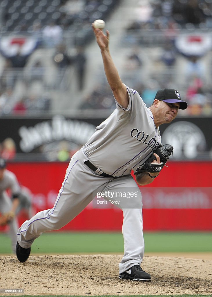 <a gi-track='captionPersonalityLinkClicked' href=/galleries/search?phrase=Rafael+Betancourt&family=editorial&specificpeople=224728 ng-click='$event.stopPropagation()'>Rafael Betancourt</a> #63 of the Colorado Rockies pitches during the ninth inning of a baseball game against the San Diego Padres at Petco Park on April 14, 2013 in San Diego, California.