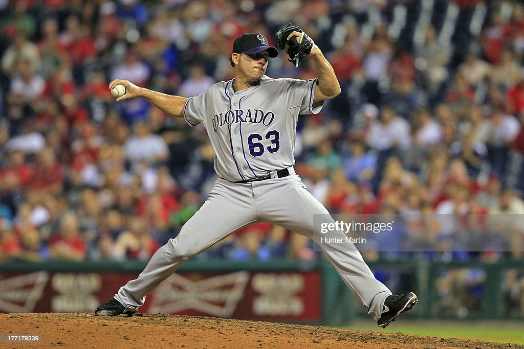 <a gi-track='captionPersonalityLinkClicked' href=/galleries/search?phrase=Rafael+Betancourt&family=editorial&specificpeople=224728 ng-click='$event.stopPropagation()'>Rafael Betancourt</a> #63 of the Colorado Rockies throws a pitch during a game against the Philadelphia Phillies at Citizens Bank Park on August 21, 2013 in Philadelphia, Pennsylvania. The Phillies won 4-3.