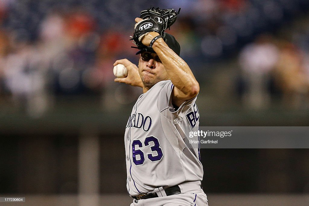 <a gi-track='captionPersonalityLinkClicked' href=/galleries/search?phrase=Rafael+Betancourt&family=editorial&specificpeople=224728 ng-click='$event.stopPropagation()'>Rafael Betancourt</a> #63 of the Colorado Rockies throws a pitch in the ninth inning of the game against the Philadelphia Phillies at Citizens Bank Park on August 22, 2013 in Philadelphia, Pennsylvania. The Phillies won 5-4.