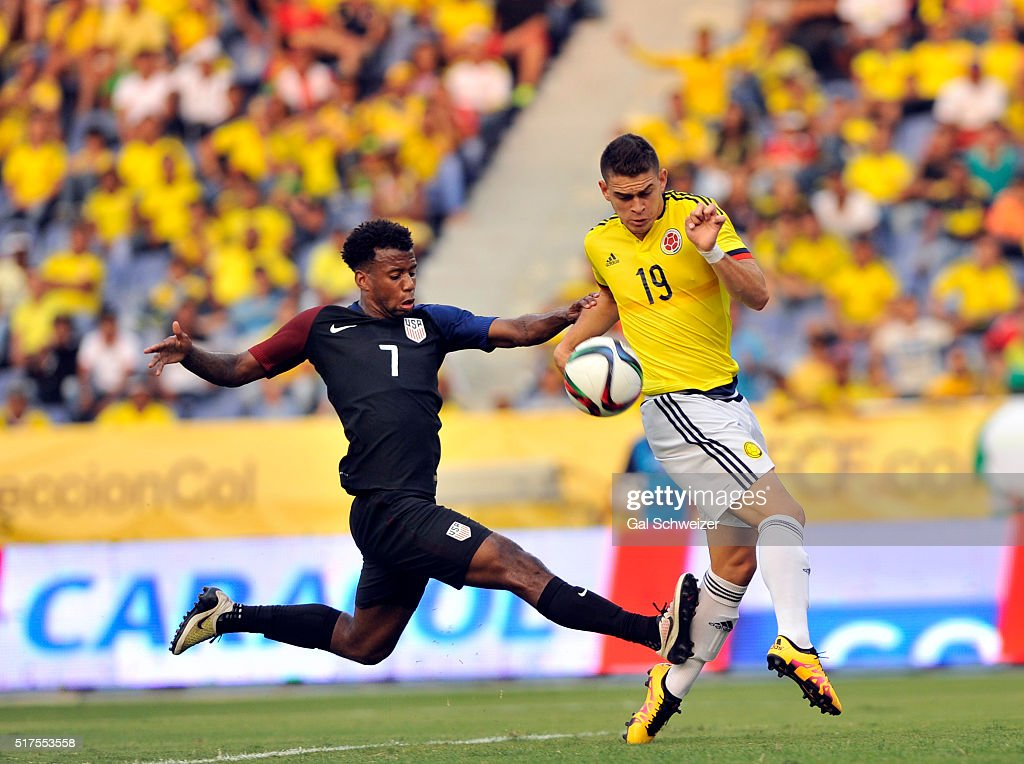 Rafael Borre of Colombia struggles for the ball with Kellyn PerryAcosta of US during a U23 Olympic Qualifying Playoff match between Colombia and USA...