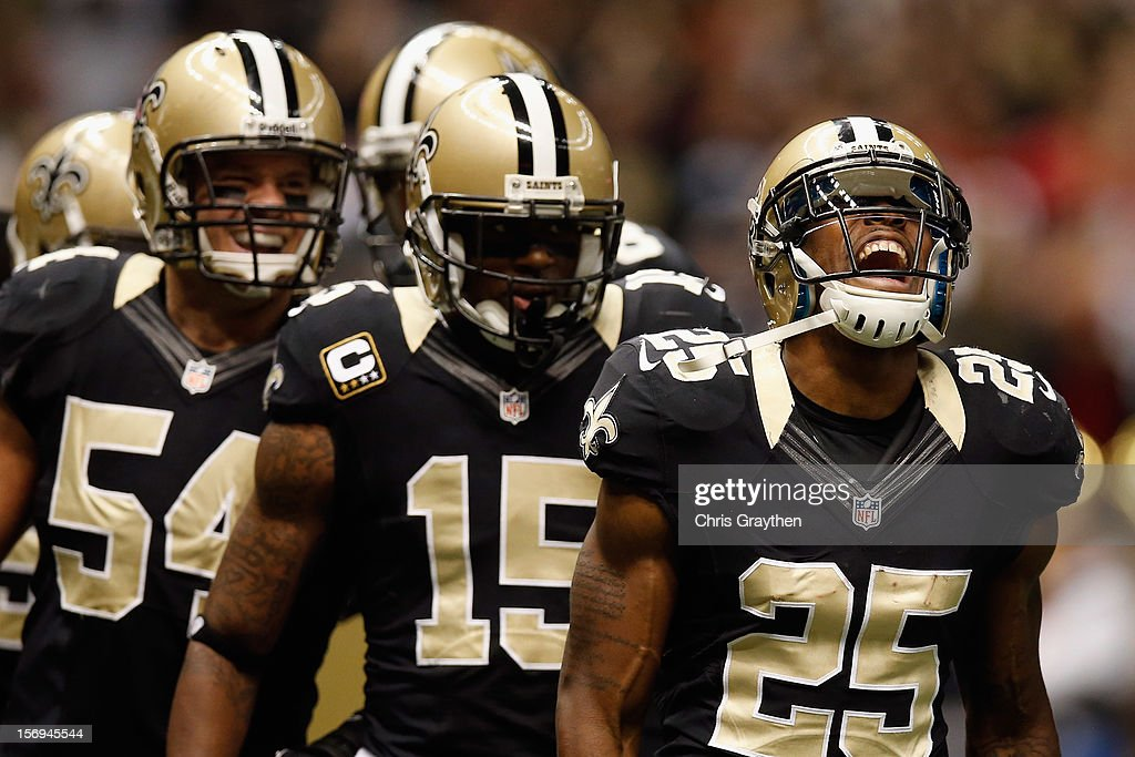 Rafael Bush #25 of the New Orleans Saints reacts after recovering a fumble against the San Francisco 49ers at The Mercedes-Benz Superdome on November 25, 2012 in New Orleans, Louisiana.
