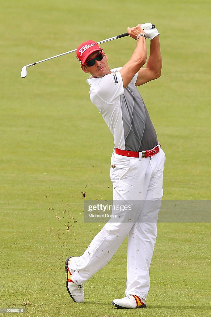 Rafael Cabrera Bello of Spain hits an approach shot during day one of the World Cup of Golf at Royal Melbourne Golf Course on November 21, 2013 in Melbourne, Australia.